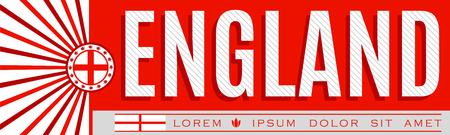 England Patriotic Banner design, typographic vector illustration, England Flag colors Illustration