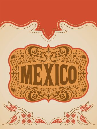 Mexico Western Style, Mexican Theme vector poster card template Imagens - 128924299