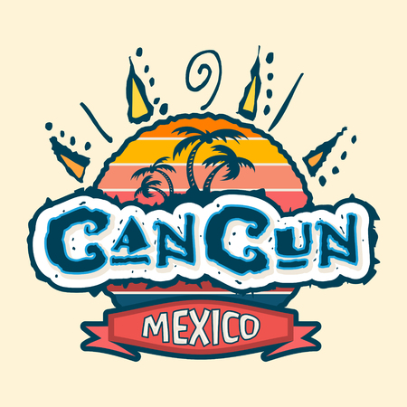 Cancun Mexico Vector Icon, Emblem Design