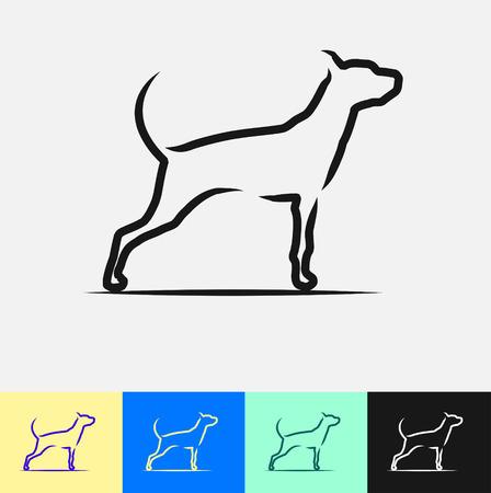 Dog Emblem Stylish Brush Design, vector illustration Illusztráció