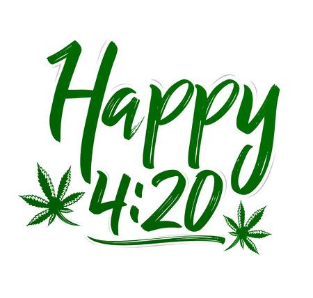 Happy 4:20 Marijuana Leaf, Cannabis celebration vector lettering design, April 20.