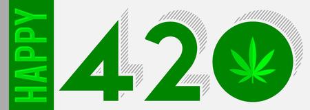 Happy 420 vector Marijuana Leaf, April 20 celebration