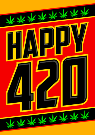 Happy 420 Cannabis April 20 celebration vector design. Illustration