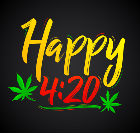 Happy 4:20 Marijuana Leaf, Cannabis celebration vector lettering design, April 20.