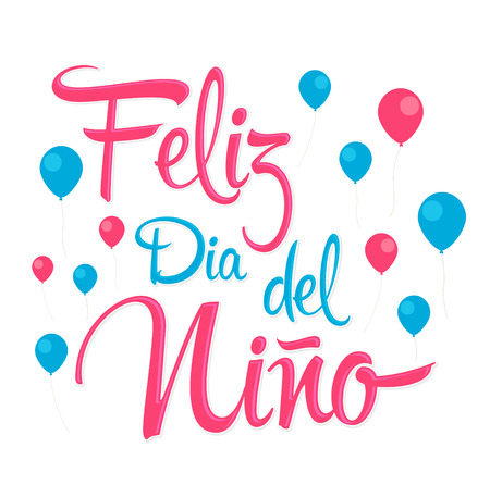 Feliz Dia del Nino, Happy Children Day spanish text, vector design 矢量图像