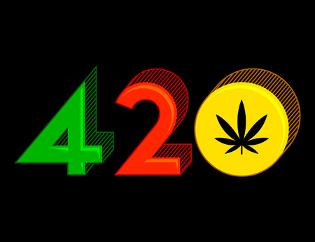 420 Cannabis symbol, Marijuana Leaf vector illustration