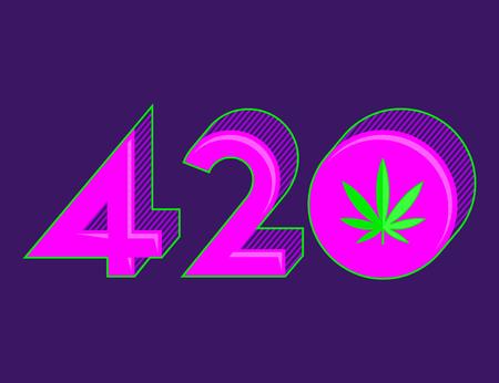 420 Cannabis symbol, Marijuana Leaf vector illustration