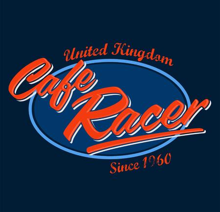 Cafe Racer Vintage Motorcycle design, vector lettering emblem.