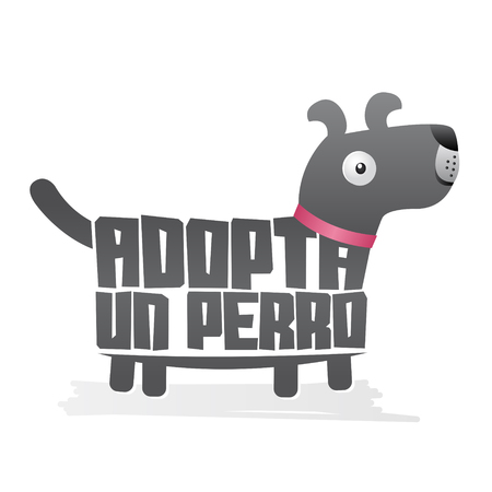 Adopta un Perro, Adopt a Dog, Vector icon with dog shape, adoption concept