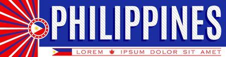 Philippines Patriotic Banner design, typographic vector illustration, Philippine Flag colors