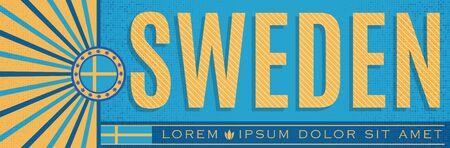 Sweden Patriotic Banner design, typographic vector illustration, Swedish Flag colors