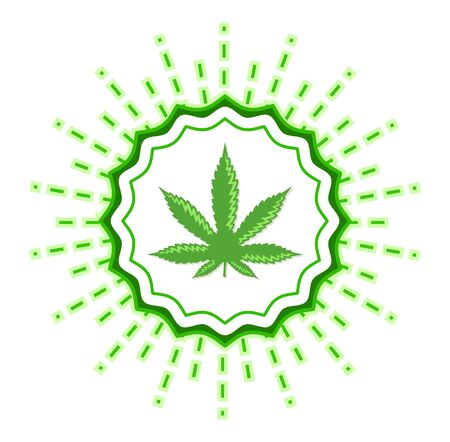 Marijuana emblem vector seal, Cannabis Leaf Plant sign illustration
