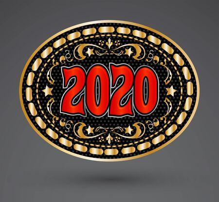 2020 Western Cowboy Belt Buckle vector illustration