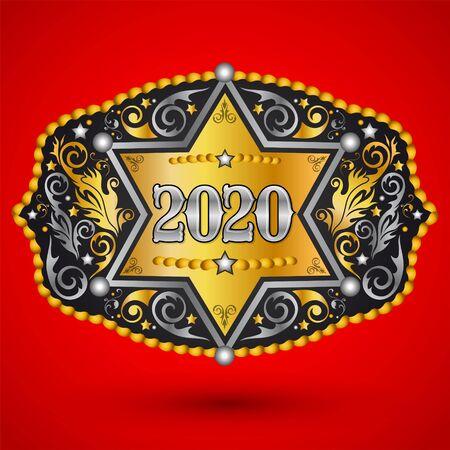 Hebilla de cinturón de vaquero occidental de año 2020 con diseño de vector de insignia de sheriff