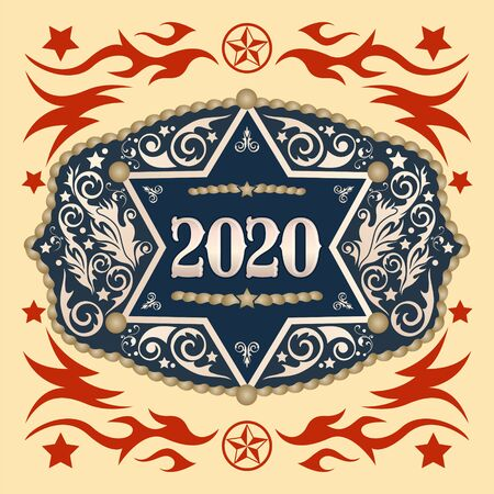 2020 Year Western Cowboy belt buckle with Sheriff Badge vector design