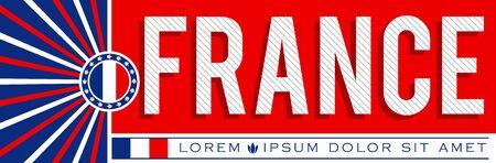 Diseño de banner patriótico de Francia, ilustración vectorial tipográfica, colores de la bandera francesa Ilustración de vector