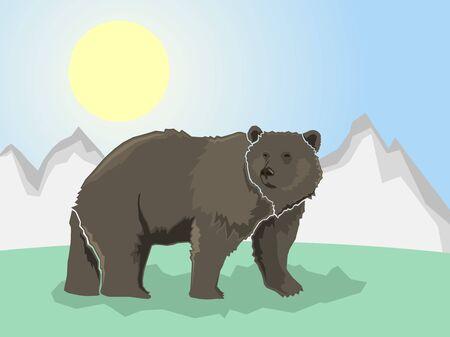 Bear on a stylized mountain background, Vector illustration