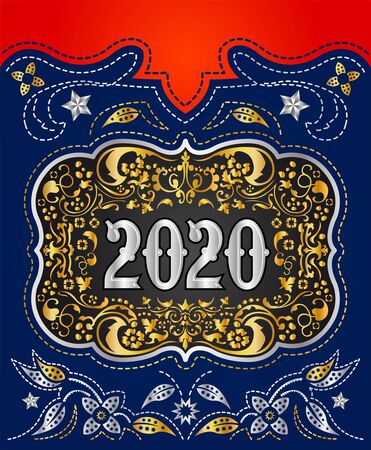 2020 Cowboy Belt buckle design, Western badge decorative background 写真素材 - 128924761