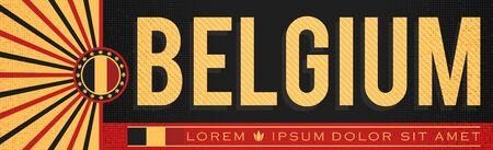 Belgium Patriotic Banner design, typographic vector illustration, Belgian Flag colors Ilustração
