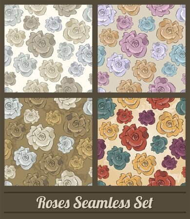 Roses Floral Vintage colors Seamless vector pattern set collection 版權商用圖片 - 128924788