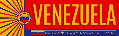 Venezuela Patriotic Banner design, typographic vector illustration, Venezuelan Flag colors 版權商用圖片 - 128924784