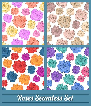 Roses Floral Vintage colors Seamless vector pattern set collection 版權商用圖片 - 128924698