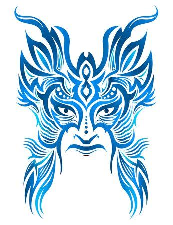 Tribal Mask Face vector illustration, Tattoo style Warrior.