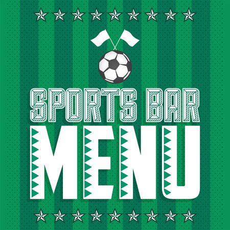 Sports Bar Menu Cover Design template, Soccer theme restaurant 版權商用圖片 - 128924702