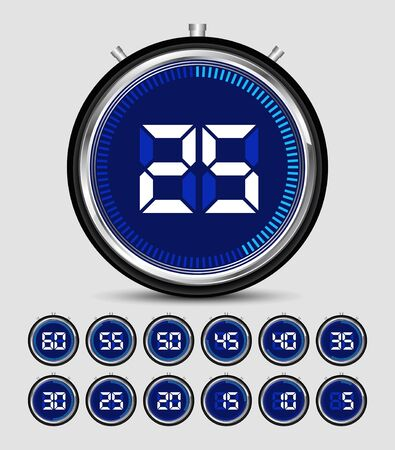 Digital Timer Stopwatch vector illustration with Number template