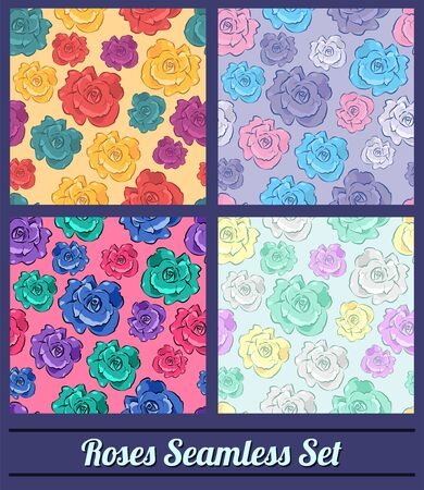 Roses Floral Vintage colors Seamless vector pattern set collection 向量圖像