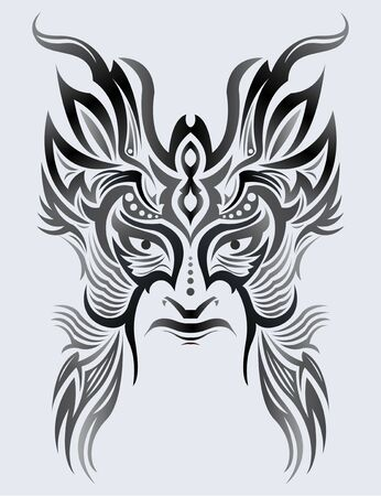 Tribal Mask Face vector illustration, Tattoo style Warrior.