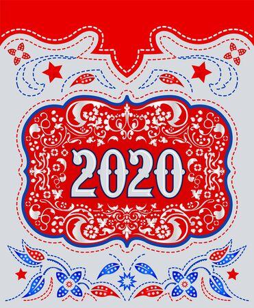 2020 Cowboy Belt buckle design, Western badge decorative background