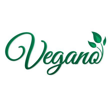 Vegano, Vegan Spanish text, Vector icon design, vegan symbol with leaves. 版權商用圖片 - 128924719