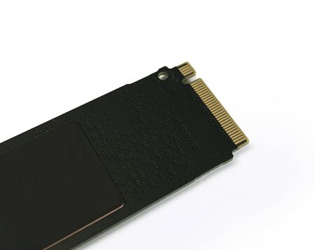 NVME M2 SSD Solid State Disk for data storage at high speed closeup on white isolated background 版權商用圖片