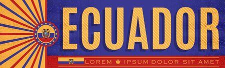 Ecuador Patriotic Banner design, typographic vector illustration, Ecuadorian Flag colors 版權商用圖片 - 128924678