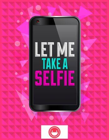 Let me Take a Selfie, vector illustration with smart phone concept banner 向量圖像