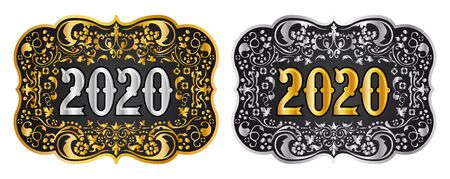 2020 New year Cowboy belt buckle gold and silver design, 2020 western badge  イラスト・ベクター素材