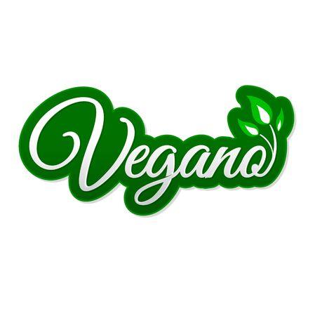 Vegano. Vegan Spanish text, Vector icon design, vegan symbol with leaves.