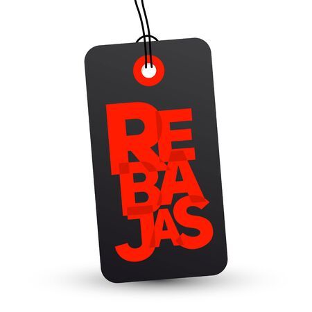 Rebajas, Discounts Spanish text, Sale vector label emblem.