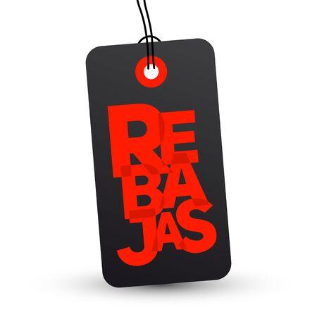 Rebajas, Discounts Spanish text, Sale vector label emblem. Ilustração Vetorial
