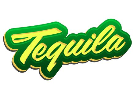 Tequila Vector Lettering Mexican drink icon, text emblem.