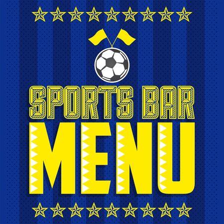 Sports Bar Menu Cover Design template, Soccer themed restaurant