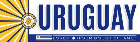 Uruguay  Banner design, typographic vector illustration, Uruguayan Flag colors