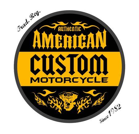 Custom Motorcycle American Badge print design, vector emblem illustration. 版權商用圖片 - 128924593