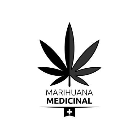 Marihuana Medicinal, Medical Marijuana spanish text, vector emblem design. 版權商用圖片 - 128924625