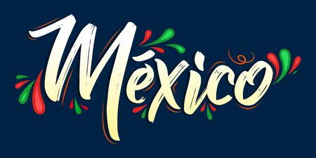 Mexico Patriotic Banner design Mexican flag colors vector illustration  イラスト・ベクター素材
