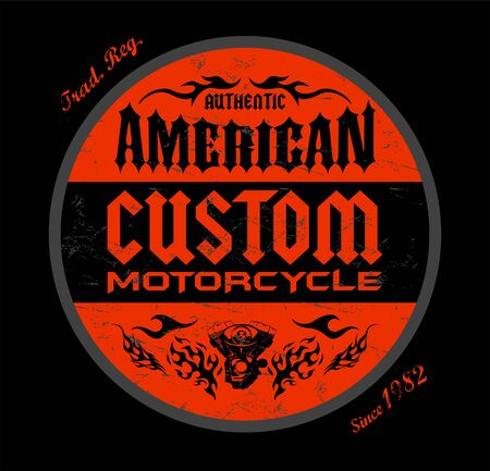 Custom Motorcycle American Badge print design, vector emblem illustration.