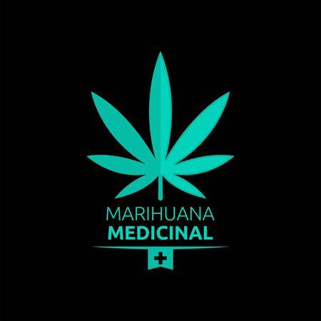 Marihuana Medicinal, Medical Marijuana spanish text, vector emblem design.