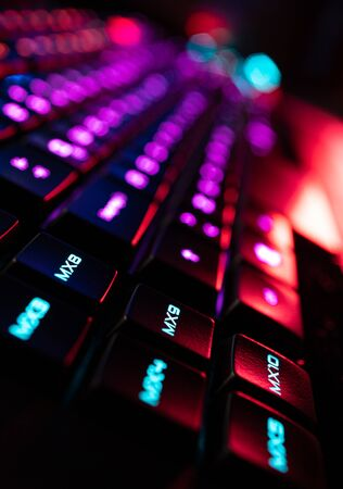 Gamer Keyboard Macro Programmable Keys colorful RGB lights 版權商用圖片 - 128924558