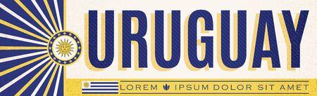 Uruguay  Banner design, typographic vector illustration, Uruguayan Flag colors 版權商用圖片 - 128924557